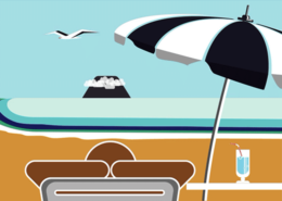 Solity Software animation explainer video beach umbrella volcano voiceovers